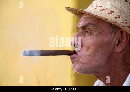 Portrait of a woman smoking cohiba cigar in Havana, Cuba - Stock Photo