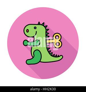Dinosaurus toy icon. Flat vector related icon whit long shadow for web and mobile applications. It can be used as - Stock Photo