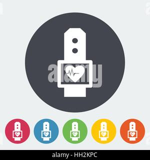 Pulsometer. Single flat icon on the circle. Vector illustration. - Stock Photo