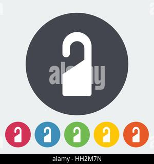Door tag. Single flat icon on the button. Vector illustration. - Stock Photo