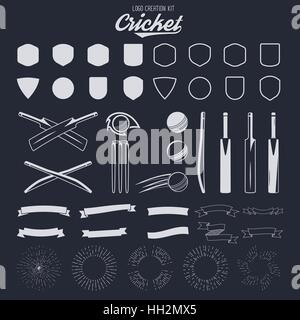 Cricket logo creation kit. Sports logo designs. Cricket icons vector set. Create your own emblem design fast. Sports - Stock Photo