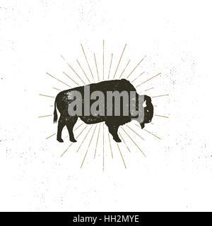bison icon silhouette. Retro letterpress effect. Buffalo symbol with sunbursts isolated on white background. Use - Stock Photo