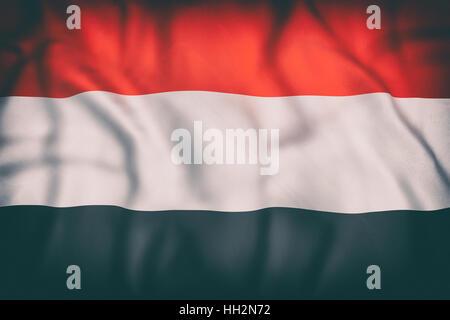 3d rendering of an old Republic of Yemen flag waving - Stock Photo