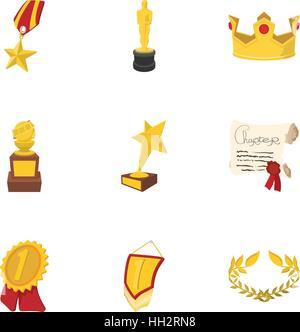Championship icons set, cartoon style - Stock Photo
