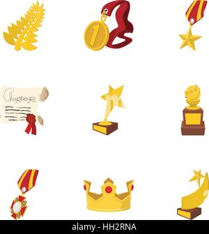 Victory icons set, cartoon style - Stock Photo