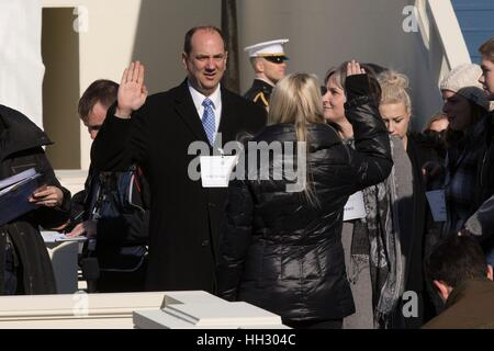 Washington, D.C, USA. 15th January, 2017. The stand-in for Vice President Elect Mike Pence is sworn in during the Department of Defense Dress Rehearsal for the 58th Presidential Inauguration ceremony in Washington D.C. Donald Trump will be sworn-in as the 45th President of the United States on January 20th. Credit: Planetpix/Alamy Live News