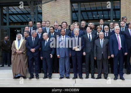 Paris, France. 15th Jan, 2017. Political figures attend the Middle East Peace Conference, Paris, France. International - Stock Photo