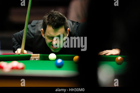 London, UK. 15th Jan, 2017. Ronnie O'Sullivan of England competes during the first round match with Liang Wenbo - Stock Photo