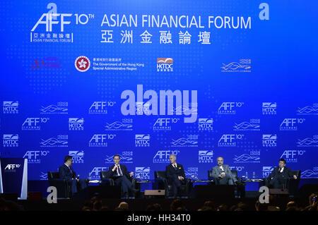 Hong Kong, China. 16th Jan, 2017. Guests attend the 10th Asian Financial Forum in Hong Kong, south China, Jan. 16, - Stock Photo
