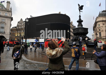 London, UK. 16th Jan, 2017. The iconic electronic billboards of Piccadilly Circus have been switched off for renovations - Stock Photo