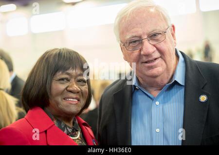 New York, USA. 15th Jan, 2017. L-R, Dorothy Gosby (Democrat - Councilmember Town of Hempstead) and John Brooks (Dem. - Stock Photo