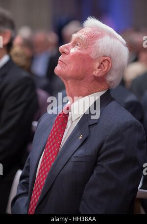 FILE PICS: 16th January 2017. Apollo 17 mission commander Gene Cernan, the last man to walk on the moon, looks skyward - Stock Photo