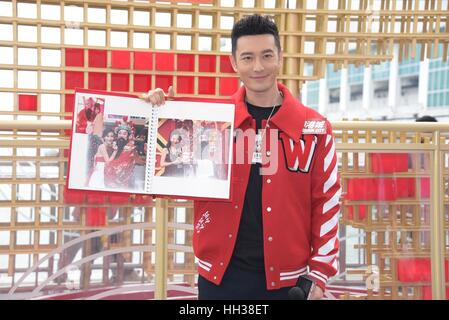 Hong Kong, China. 16th Jan, 2017. Xiaoming Huang showed up as the lion and teamed with the children to dance with - Stock Photo