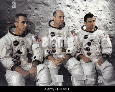 Florida, USA. 3rd April, 1969. The prime crew of the Apollo 10 lunar orbit mission seen at the Kennedy Space Center. - Stock Photo