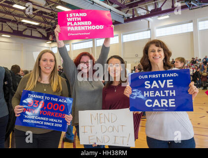 Westbury, USA. January 15, 2017.  L-R, Sue Moller of Merrick, Amy Budd of Bellmore, Stefana Muller of Babylon, and - Stock Photo