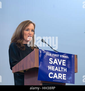 Westbury, USA. January 15, 2017. Representative Kathleen Rice (D-NY4) is speaking at the 'Our First Stand' Rally - Stock Photo