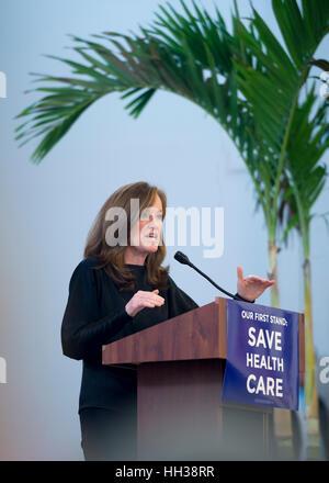 Westbury, USA. January 15, 2017. Representative Kathleen Rice (Democrat - 4th Congressional District) is speaking - Stock Photo