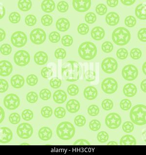 vector seamless pattern - green stars in circles on light background - Stock Photo