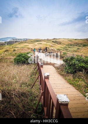 Jeju Island, Korea - November 13, 2016 : The tourist visited the Beautiful landscape view at Seopjikoji, located - Stock Photo