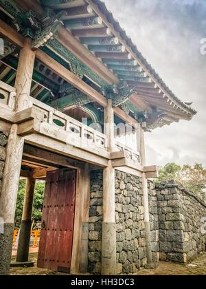 Entrance gate of Seongeup Folk Village, Jeju Island, Korea - Stock Photo