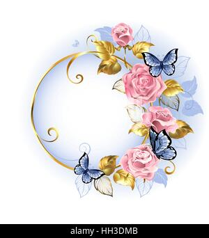 Round gilded banner with pink, delicate roses, blue butterflies, gold and blue leaves on a light background. - Stock Photo