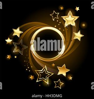 Round golden banner with gold, shining stars on a black background. - Stock Photo