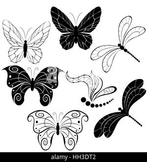 black silhouettes of stylized butterflies and dragonflies on a white background. - Stock Photo
