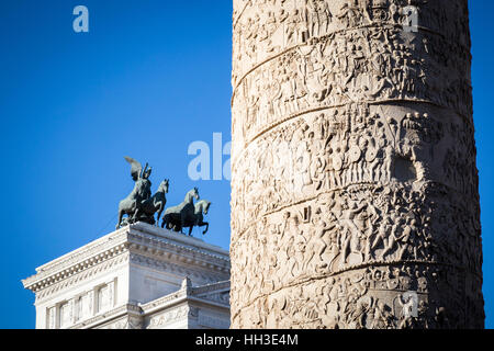 The Column of Trajan in the morning light in Rome, Italy. - Stock Photo