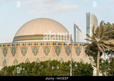 Abu Dhabi Theater.  Located off the Corniche, the National theatre building of Abu Dhabi is a landmark building - Stock Photo