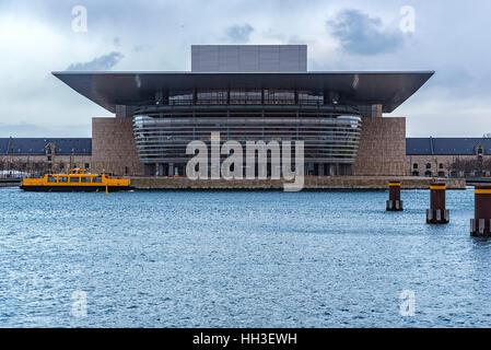 View from across the river of Copenhagen Opera House in Denmark - Stock Photo