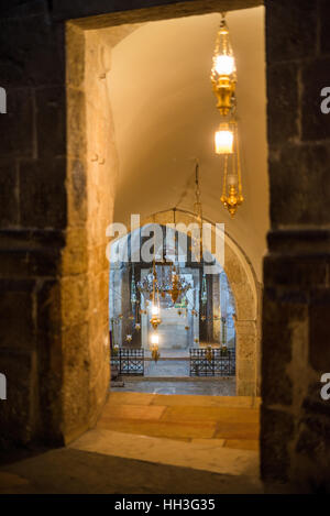 Chapel of Saint Helena inside the church of the holy Sepulchre, Jerusalem, Israel. - Stock Photo