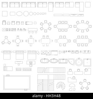 Furniture and elements line symbols - Stock Photo