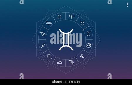 Gemini Horoscope Zodiac Fortune Twin Graphic Concept - Stock Photo
