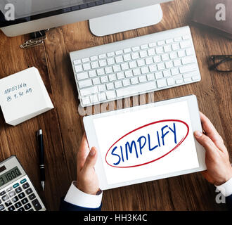 Simplify Simpleness Easy Facilitate Clarify Concept - Stock Photo