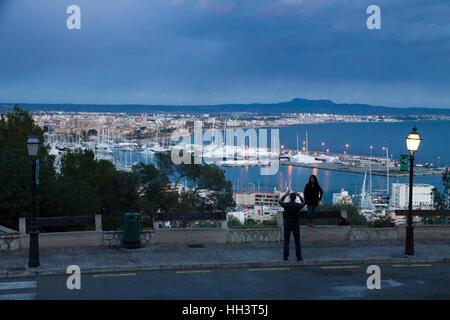 Two people take a photos on Palma de Mallorca hi view  Bay panoramic on backgound Majorca Balearic Spain - Stock Photo