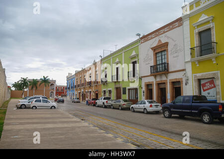 Campeche, Mexico -  January 01, 2010: downtown street with typical colonial buildings in Campeche, Mexico. - Stock Photo