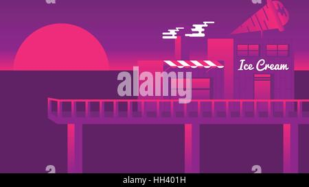 Ice Cream Parlor on a Pier at Sunset - Vector Illustration - Stock Photo