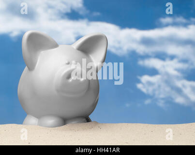 White Piggy Bank in Desert - Stock Photo