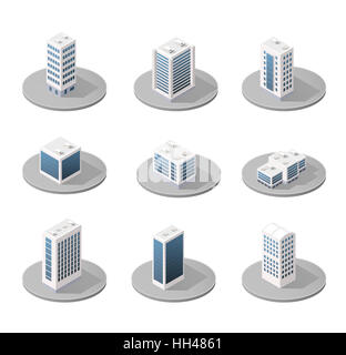 3D isometric city icons with houses and skyscrapers in the three-dimensional projection - Stock Photo