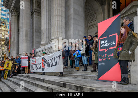 New York, USA. 15th Jan, 2017. Writers Resist: Louder Together for Free Expression is a literary protest at the - Stock Photo