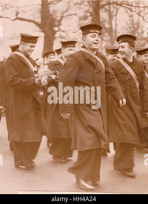 Officer and crew of HMS Exeter and HMS Ajax who took part in the battle of the River Plate where the German Graff Spree was sunk Stock Photo
