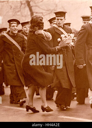 London Graf Spee Victory Parade HMS Exeter Crew Stock Photo
