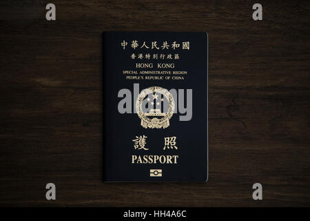 Hong Kong. 16th Jan, 2017. The picture shows the cover of the Hong Kong(HKSAR) passport on the desk. Article 4 of - Stock Photo