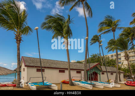 Boathouse On The Beach Guadeloupe West Indies - Stock Photo