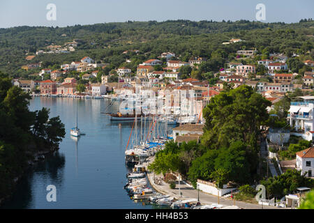 Harbour of Gaios town, Paxos, Ionian Islands, Greek Islands, Greece, Europe - Stock Photo