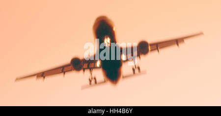Civil aircraft on final approach prior to landing, Heathrow, London, UK - Stock Photo