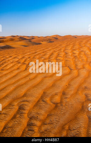 Sunset view of sand dunes in the Rub' al Khali desert, Al Ain, United Arab Emirates - Stock Photo