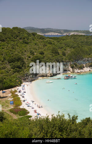 Voutoumi beach, Antipaxos, Ionian Islands, Greek Islands, Greece, Europe - Stock Photo