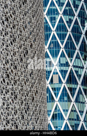Architectural details of skyscrapers, Doha, Qatar - Stock Photo
