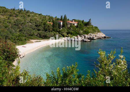 Khaki Lagkada beach on east coast, Paxos, Ionian Islands, Greek Islands, Greece, Europe - Stock Photo